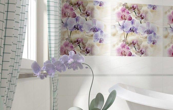 Fot. www.paradyz.com. Łazienka jest niezwykle wdzięcznym pomieszczeniem do eksponowania wszelkich motywów roślinnych. O ile duża kolekcja orchidei w tym miejscu nastręczałaby wiele trudności, o tyle jeden piękny kwiat w połączeniu z aranżacją prezentującą orchidee na ścianie tworzy wspaniałe tło dla domowego SPA (Ceramika Paradyż, Dekoracja Orchidea, Panel Struktura).
